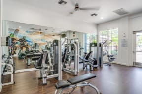 Strength Training Equipment in Fitness Center at Pavona Apartments, 760 N. 7th Street, CA