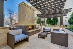 Beautiful Courtyard With Fireplace at South Park by Windsor, Los Angeles, California