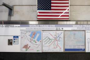 Silver Line MBTA World Trade Center stop near Waterside Place by Windsor, Massachusetts, 02210
