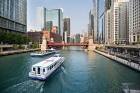 View of Chicago River near Flair Tower, Chicago, Illinois
