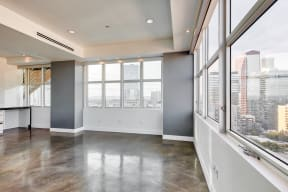 Stained concrete floors  at Renaissance Tower, 501 W. Olympic Boulevard, CA