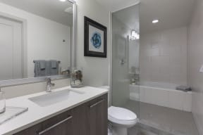Large Soaking Tub In Master Bathroom with A Tile Surround at Windsor at Delray Beach, Florida, 33483