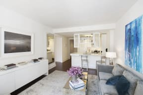 Open living spaces let in lots of natural light from oversized windows at The Aldyn