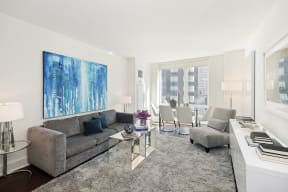 Modern finishes in the living room of The Aldyn