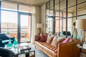 Living room of model home