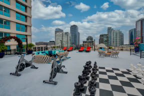 Terraces with chess set and seating at Renaissance Tower, Los Angeles, CA