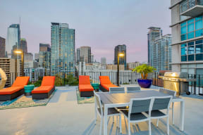Lounge chairs on rooftop deck at Renaissance Tower, Los Angeles, California