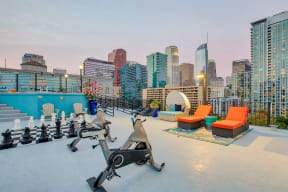 Spin bikes on rooftop deck at Renaissance Tower, California, 90015