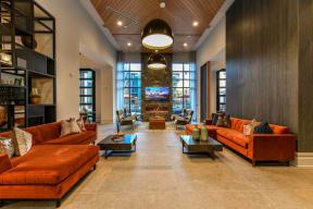 Clubroom seating at Elevate West Village, 4520 Pine Street, GA