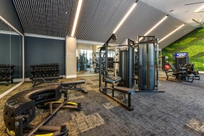 Fitness center at Elevate West Village, 4520 Pine Street, Smyrna