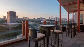 Take in spectacular downtown views from our rooftop Sky Lounge. at Eleven by Windsor, Austin, TX, 78702