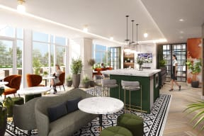 Resident Clubroom with Bar at Flair Tower, Illinois, 60654