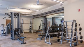 Our fitness center is equipped with free weights, weight machines and cardio equipment.
