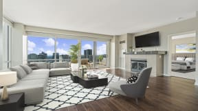 Panoramic windows overlooking Chicago  at Flair Tower Apartments, IL, 60654