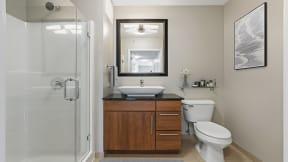 Sleek bathroom finishes at Flair Tower Apartments, 222 W Erie St, Illinois