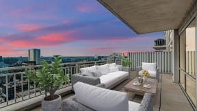 Penthouse balcony at Flair Tower Apartments, River North, Chicago
