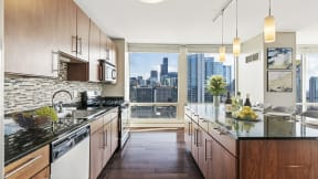 Penthouse kitchens featuring luxury finishes and stunning views at Flair Tower Apartments, 222 W Erie St, Illinois