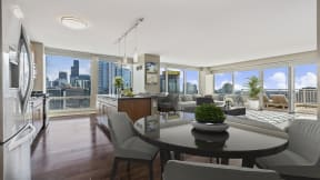 Dining space surrounded by views at Flair Tower Apartments, 222 W Erie St, Illinois