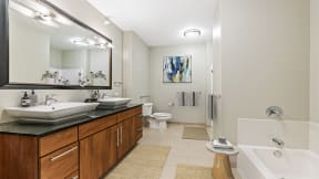 Double vanity in bathroom at Flair Tower Apartments, IL, 60654
