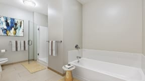 Spa inspired bathroom at Flair Tower Apartments, 222 W Erie St, Illinois