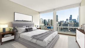 Ample natural light via windows at Flair Tower Apartments, River North, Chicago