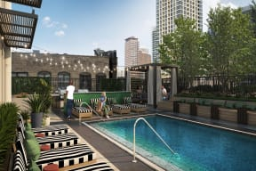 Pool with Sundeck and Lounge Chairs at Flair Tower, Chicago, 60654