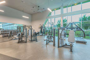 Cardio and strength training equipment at Metro West, 8055 Windrose Ave, Plano