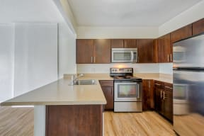 Stainless steel appliances at Renaissance Tower, California, 90015