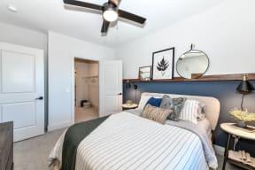 Carpeted bedroom at Elevate West Village, 4520 Pine Street, GA