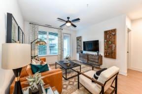 Decorated living room at Elevate West Village, Smyrna, GA