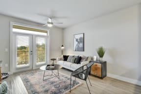 Spacious Living Room With Private Balcony at Windsor Ridge, Austin
