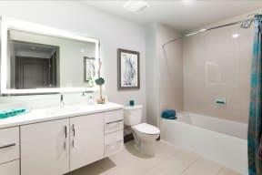 Lighted Mirror Vanities with Edge Lit Vanity Mirrors at Blu Harbor by Windsor, Redwood City, CA