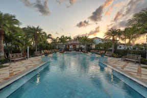 The beach entry resort style swimming pool is the perfect spot to cool down at Windsor at Delray Beach, Delray Beach