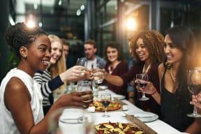 Friends enjoying dinner at Windsor Preston, Plano, TX
