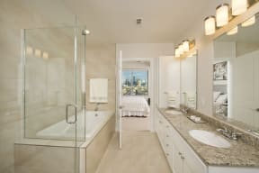 Master bath with luxurious oversized oval tub, at The Sovereign at Regent Square, TX