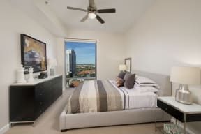 Bedrooms feature plush carpeting and large closets.