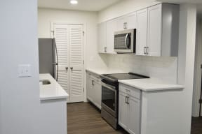 Stainless steel glass cooktop, quartz counters at Windsor Village at Waltham, Waltham, MA