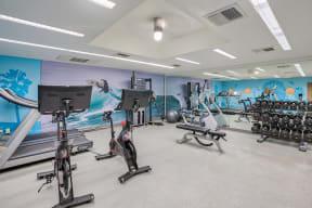 Peloton bikes in fitness center at Sea Castle