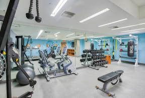 Fitness center at Sea Castle, Santa Monica