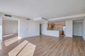 Open-concept floor plans at Sea Castle, Santa Monica