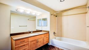Renovated bathrooms at Tera Apartments, Kirkland, Washington