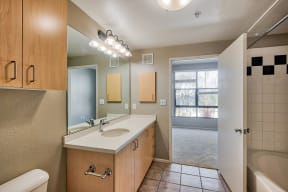 Bathroom with Storage at Terraces at Paseo Colorado
