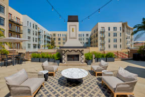 Outdoor fireplace at Terraces at Paseo Colorado