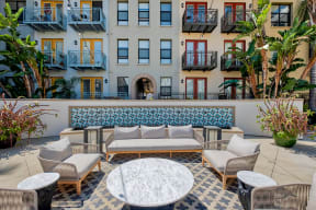 Outdoor lounge area to relax at Terraces at Paseo Colorado