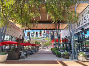 Outdoor dining at The Domain in Austin, Texas 78758.