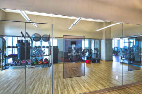 Fitness Center features Echelon Reflect smart mirrors