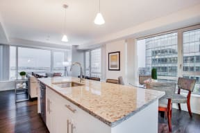 Luxe Kitchens with Granite Countertops at Waterside Place by Windsor, Boston, Massachusetts