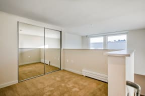 Mirrored closets in bedroom at Dogpatch, San Francisco