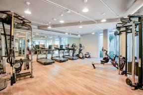 Fully equipped fitness center at Dogpatch, San Francisco