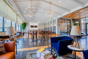 Entertainment Lounge with bar seating at Windsor at Oak Grove